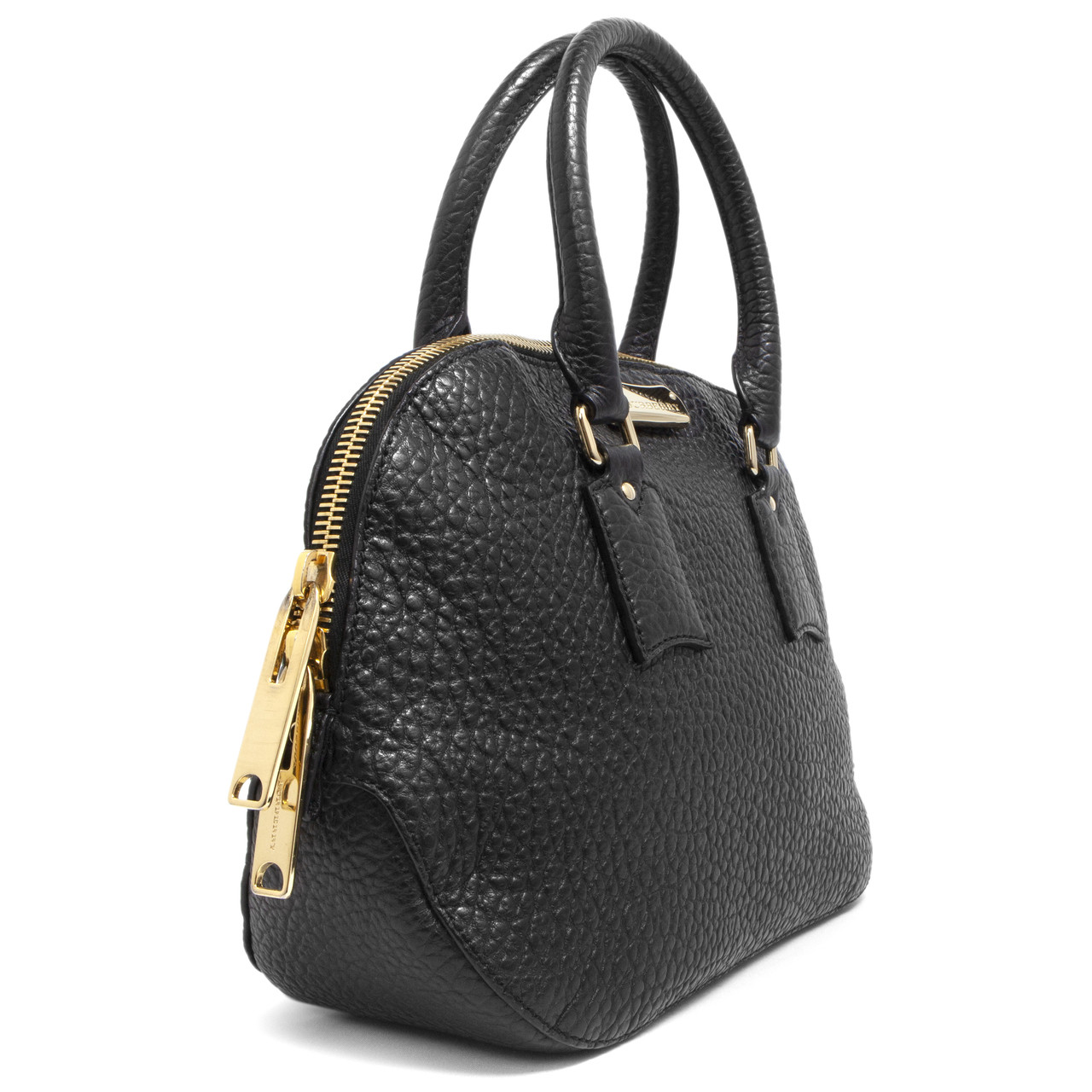 e058d0a39eb7 Burberry Black Heritage Grain Leather Small Orchard Bowling Bag ...