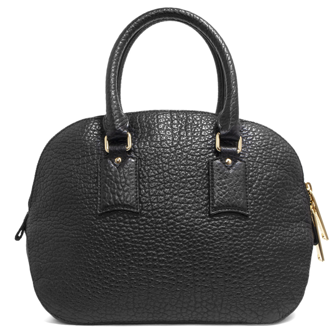 d39bc585 Burberry Black Heritage Grain Leather Small Orchard Bowling Bag ...