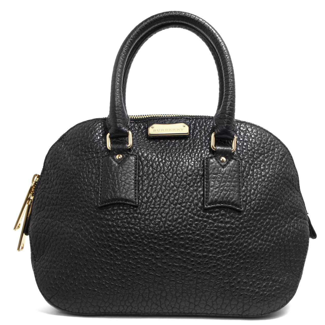 f8c97f5cf2e Burberry Black Heritage Grain Leather Small Orchard Bowling Bag ...