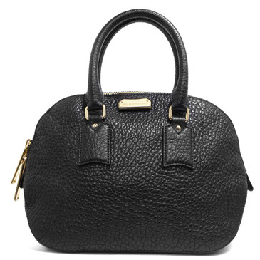 Burberry Black Heritage Grain Leather Small Orchard Bowling Bag