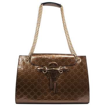 Gucci Maple Brown Shiny Guccissima Large Emily Chain Shoulder Bag