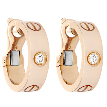 Cartier 18K Pink Gold & Diamond Love Earrings
