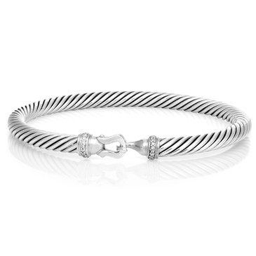 David Yurman Sterling Silver & Diamond 5mm Cable Buckle Bracelet
