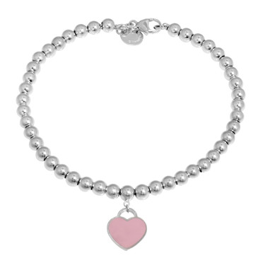 Tiffany & Co. Sterling Silver Pink Enamel Heart Bead Bracelet