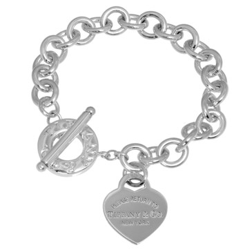 Tiffany & Co. Sterling   Silver  Heart Tag  Toggle Bracelet