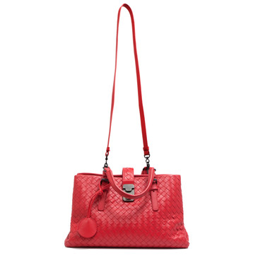 Bottega Veneta Red Intrecciato Small Roma Bag