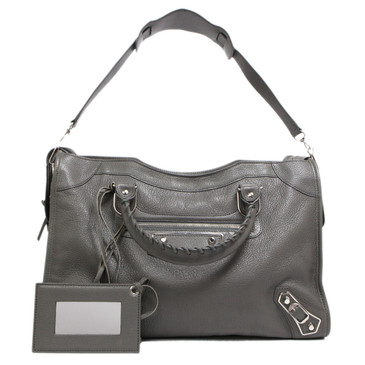 Balenciaga Gris Acier Chevre Metallic Edge City