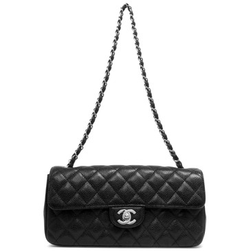 Chanel  Black Quilted Caviar East West Flap