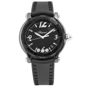 Chopard Black Ceramic Happy Sport Diamond Watch 28/8507