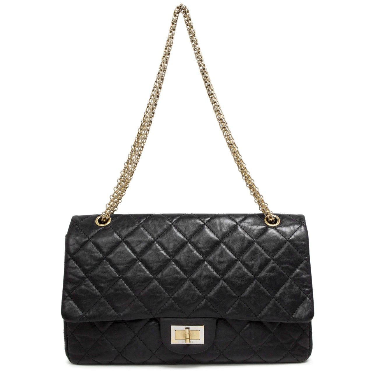 6160590a0520 Chanel Black Aged Calfskin 2.55 Reissue Double Flap 227 - modaselle