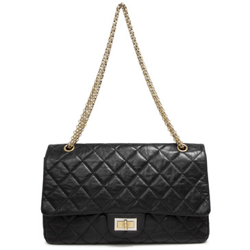 Chanel Black Aged Calfskin 2.55 Reissue  Double Flap 227