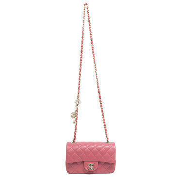 Chanel Pink Lambskin Quilted Valentine Charms Mini Flap