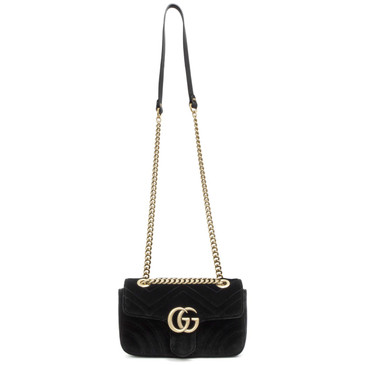 Gucci Black Velvet Mini GG Marmont