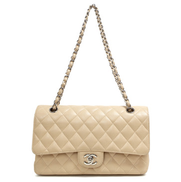 Chanel Beige Quilted Caviar Medium Classic Double Flap