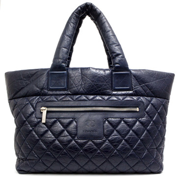 Chanel Navy Distressed Quilted Leather Large Coco Cocoon Tote