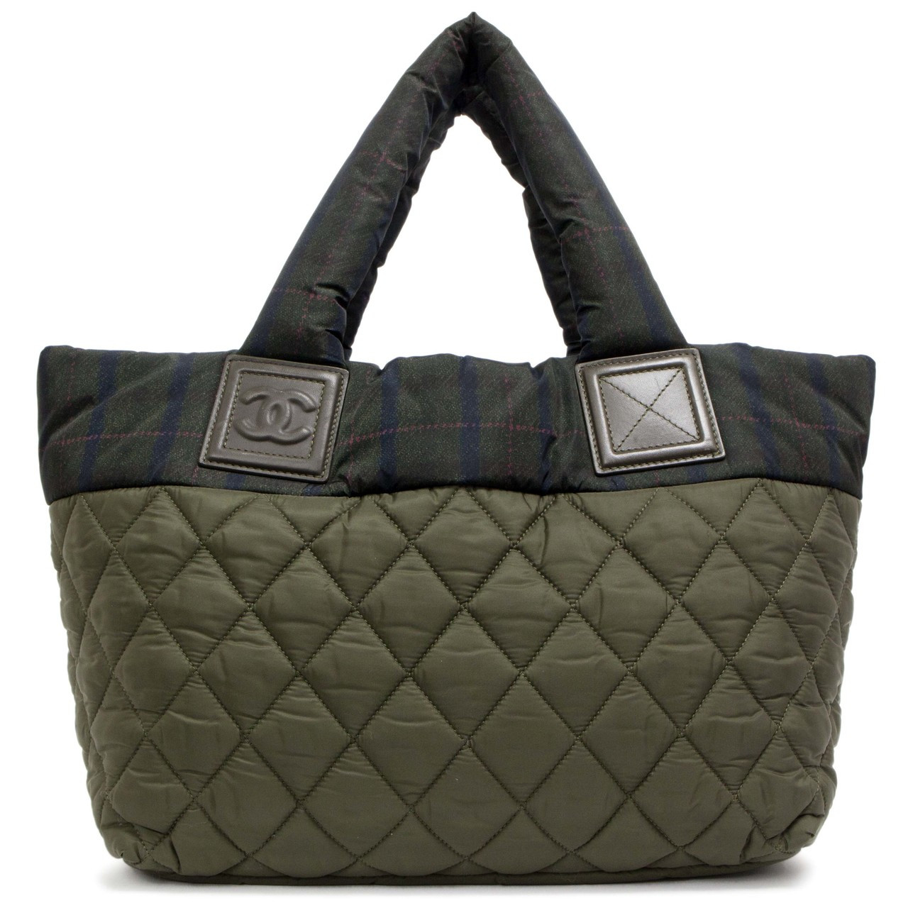 328fc1b6c9 Chanel Green Nylon Quilted Small Coco Cocoon Reversible Tote - modaselle