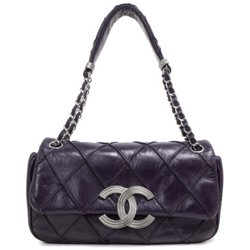 Chanel Purple Calfskin CC Flip Lock Shoulder Bag