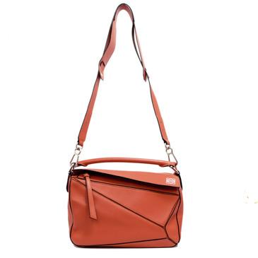 Loewe Orange Calfskin Small Puzzle Bag