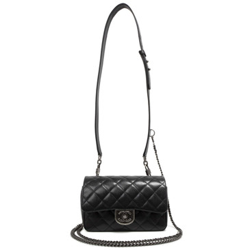Chanel Black Goatskin Small Double Carry Waist Chain Flap  Bag