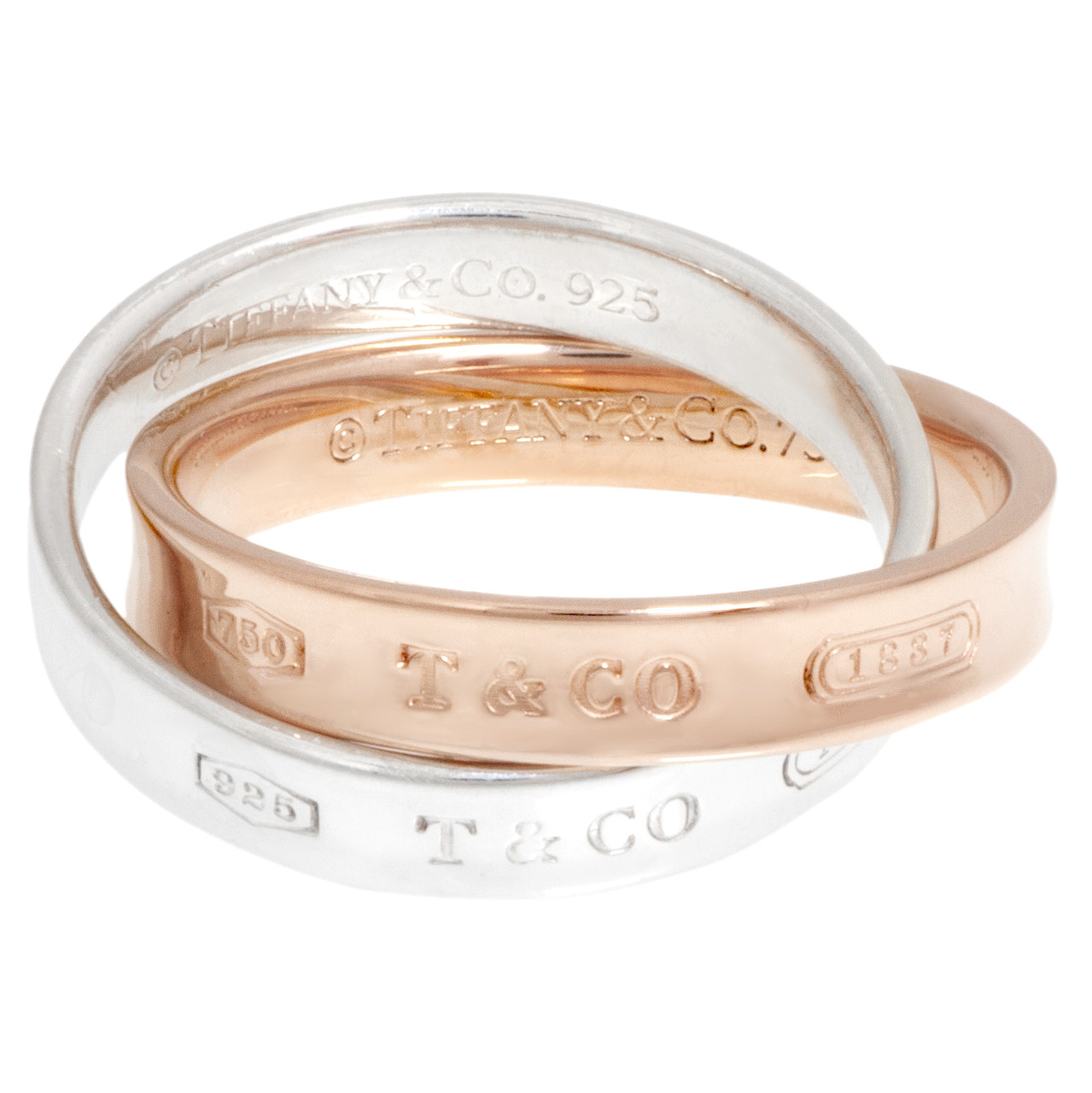 ea6efa7d1 Tiffany & Co. 18K Rose Gold & Sterling Silver Interlocking Circles ...