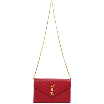 Saint Laurent Red Grain De Poudre Matelasse Monogram Envelope Chain Wallet