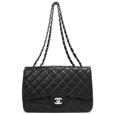 Chanel Black Quilted Caviar Jumbo Single  Flap