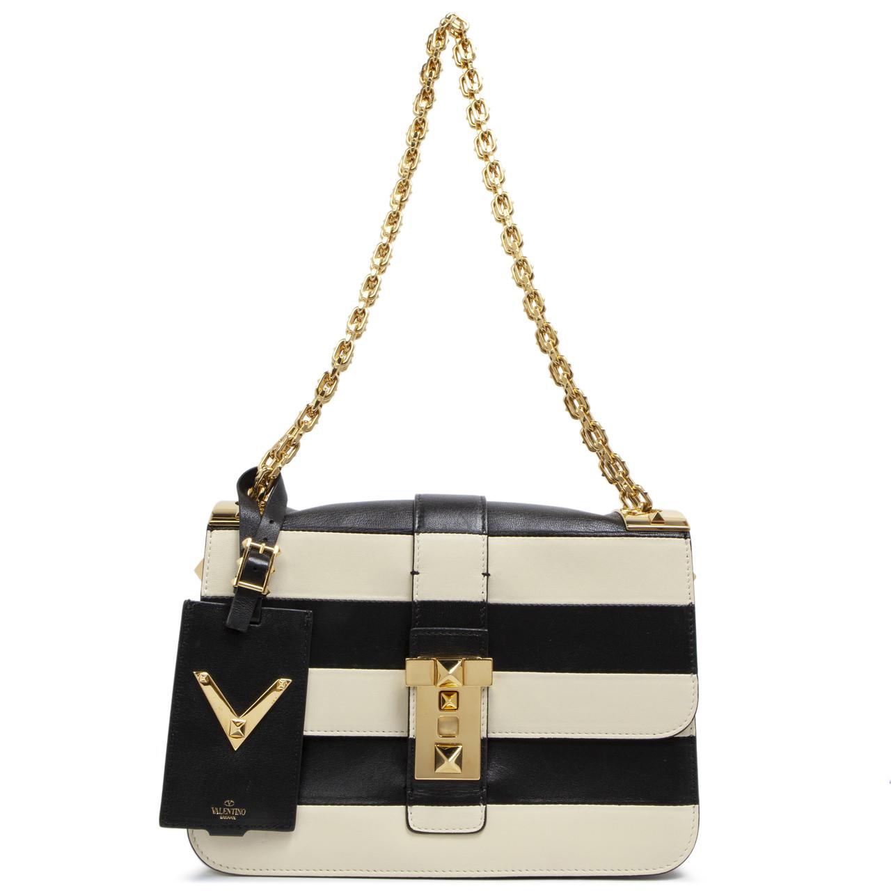 ef5f0e153a Valentino Black and Ivory Striped B-Rockstud Flap Bag - modaselle
