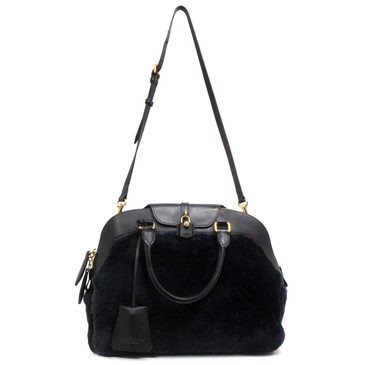 Burberry Black Shearling & Calfskin Milverton Bag