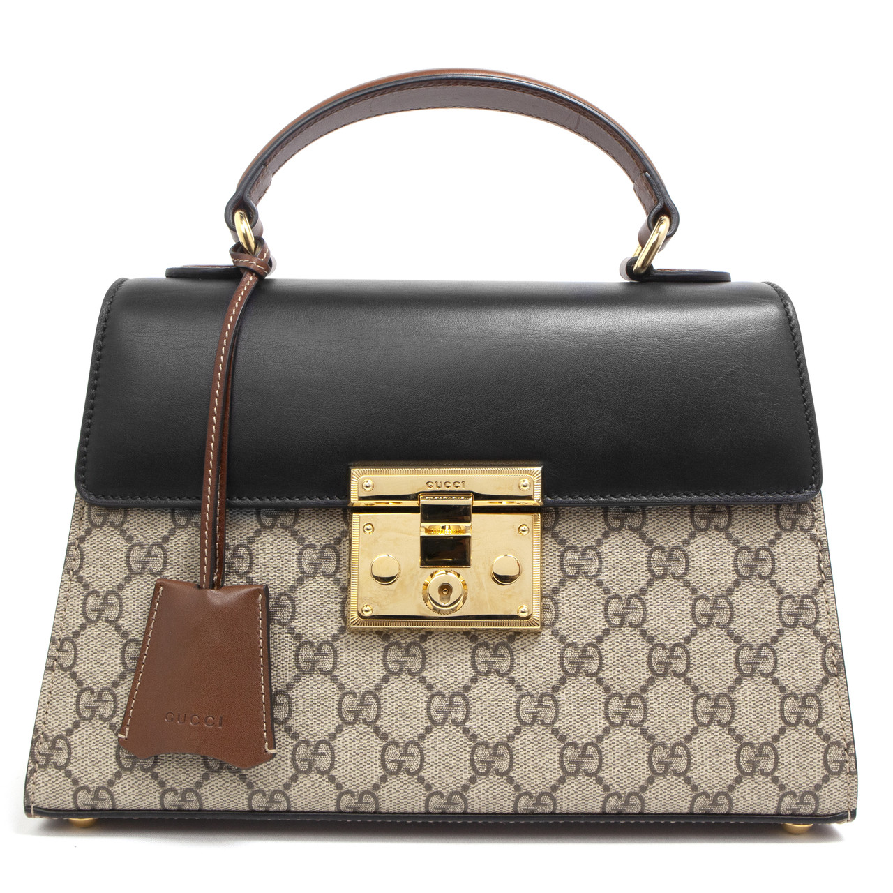 3ae05e30e022 Gucci GG Supreme Monogram Small Padlock Top Handle Bag - modaselle