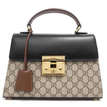 Gucci GG Supreme Monogram Small Padlock Top Handle Bag