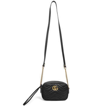 Gucci Black Calfskin Matelasse Mini GG Marmont Bag