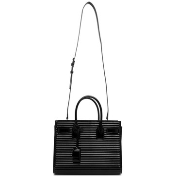 Saint Laurent Black Ribbed Patent Baby Sac de Jour