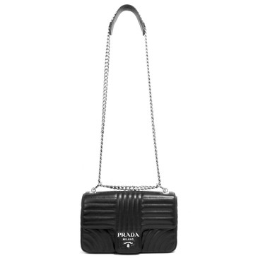 Prada Nero Soft Calfskin Medium Diagramme Flap Shoulder Bag