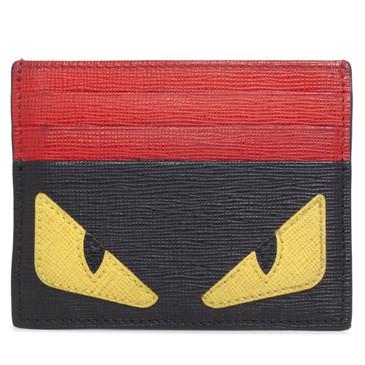 Fendi Red and Black Monster Eye Card Holder