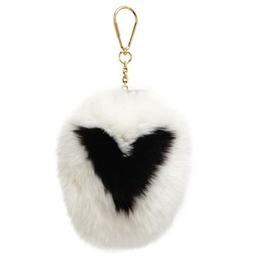 Louis Vuitton White Fox Fur Fuzzy V Bag Charm