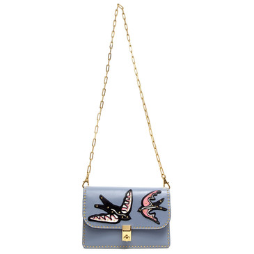 Valentino Colored Swallows Studded Accordion Shoulder Bag