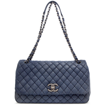 Chanel Blue Iridescent Quilted Calfskin Bubble Flap