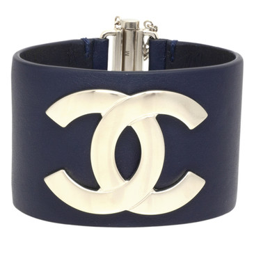 Chanel Blue Calfskin CC Cuff Bracelet