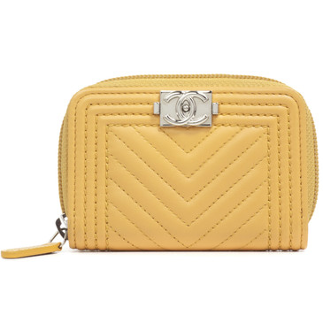 Chanel Yellow Chevron Quilted Lambskin Coin Purse