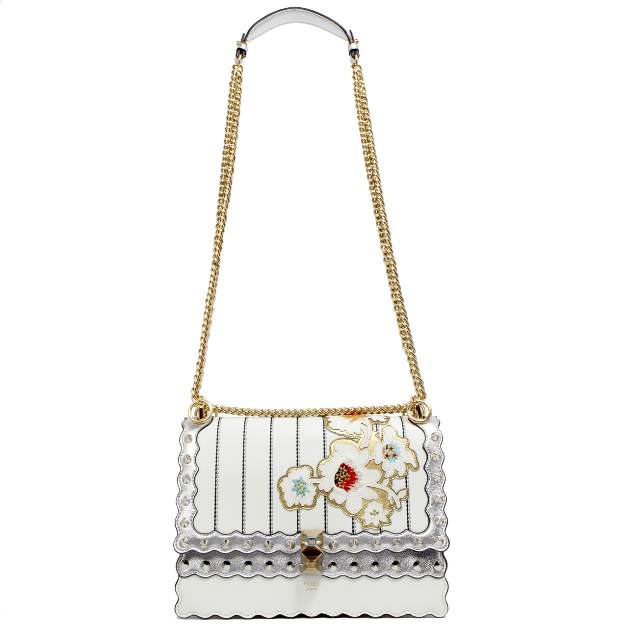 9dc7c0ac67 Fendi Silver   White Floral Embroidered Kan I Shoulder Bag - modaselle