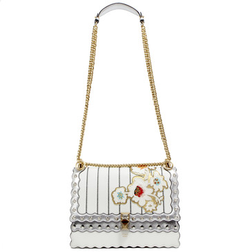 Fendi Silver & White Floral Embroidered Kan I Shoulder Bag