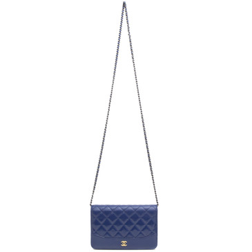 Chanel Blue Patent and Calfskin Quilted Gabrielle Wallet on Chain WOC