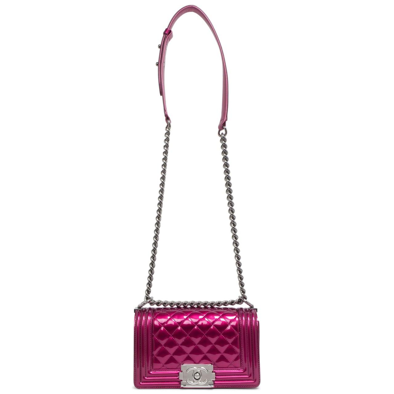 ff43a0f27c92 Chanel Fuchsia Metallic Patent Small Boy Bag - modaselle