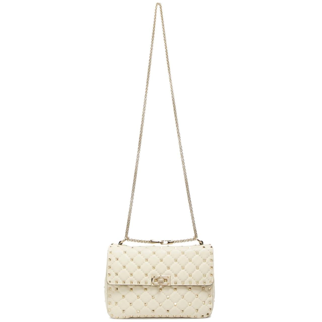 7734ffcc7d Valentino Ivory Lambskin Medium Rockstud Spike Shoulder Bag - modaselle