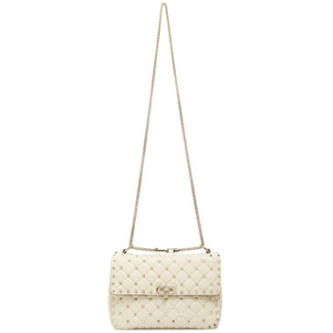 Valentino Ivory Lambskin Medium Rockstud Spike Shoulder Bag