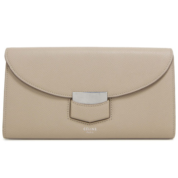 Celine Beige Grained Calfskin Large Trotteur Multifunction Flap Wallet