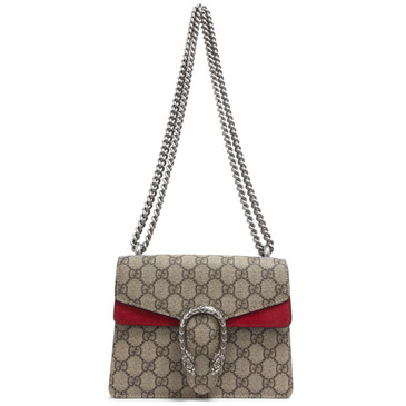 Gucci GG Supreme Monogram Canvas & Red Suede Mini Dionysus Bag