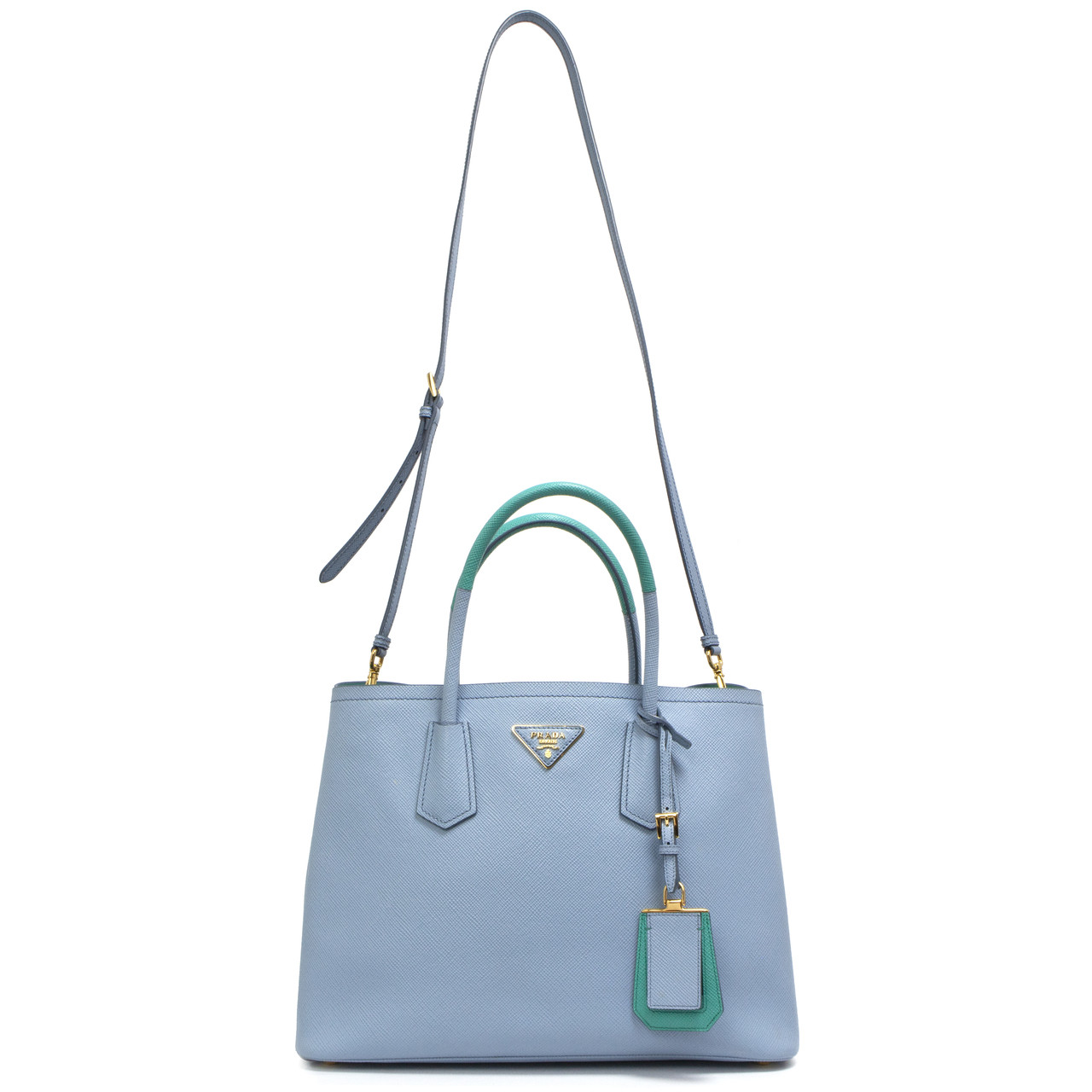052d739db2c8bb Prada Astrale Blue & Jade Green Saffiano Cuir Small Double Bag ...