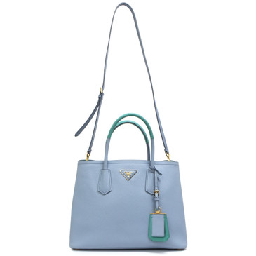 Prada Astrale Blue & Jade Green Saffiano Cuir Small Double Bag