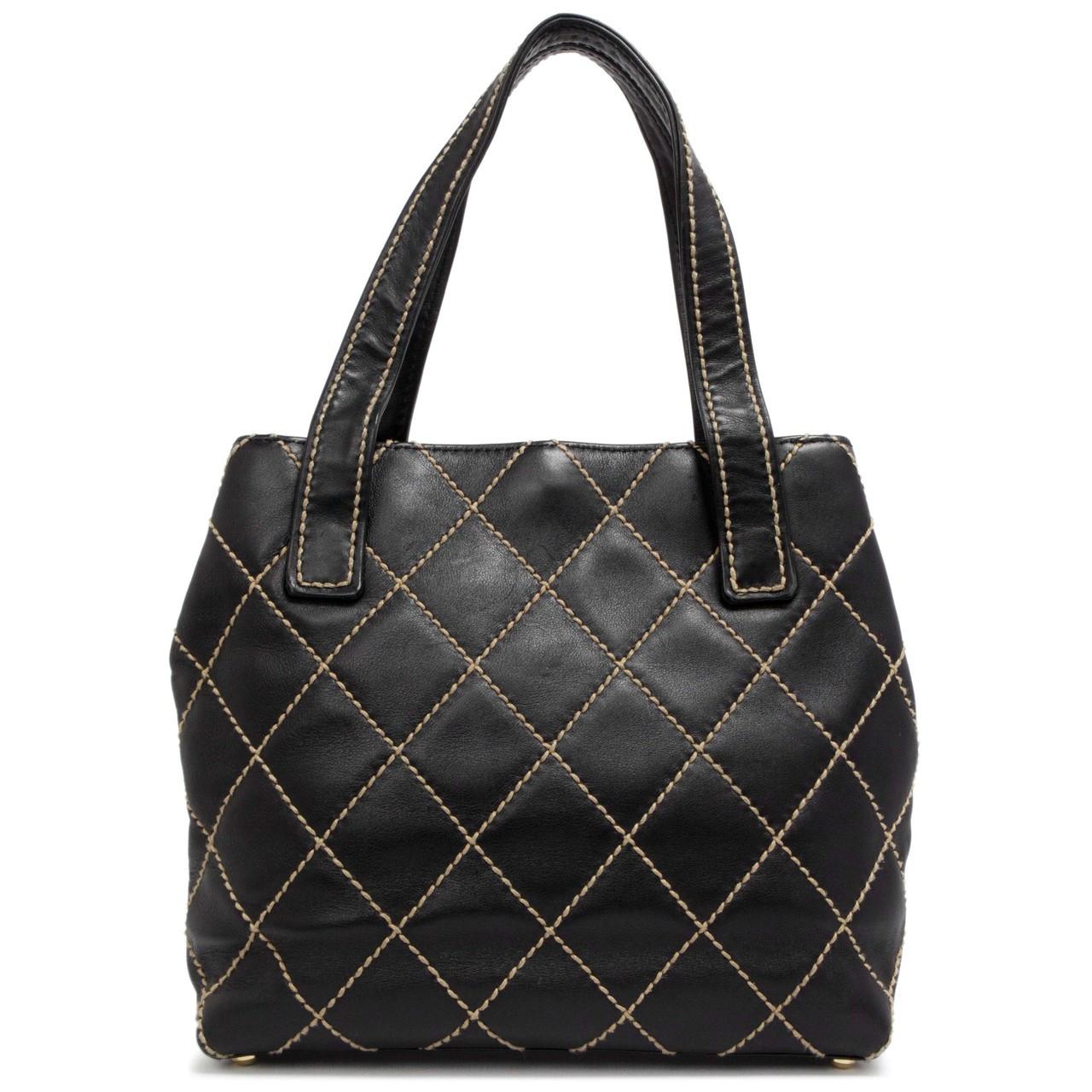 7894b1a98f54 Chanel Black Calfskin Wild Stitch Small Tote - modaselle